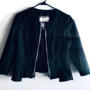 Milly Cropped Black Full ZIp Jacket